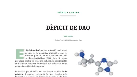 Ciencia y salud, Deficit de DAO. Artículo publicado en la revista MON APOTECARI diamino oxidasa intolerancia a la histamina