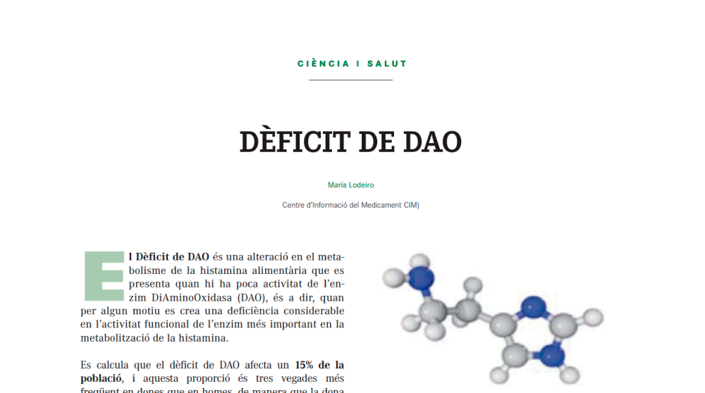 Science and Health, DAO Deficiency. Article published in the journal MON APOTECARI diamine oxidase histamine intolerance