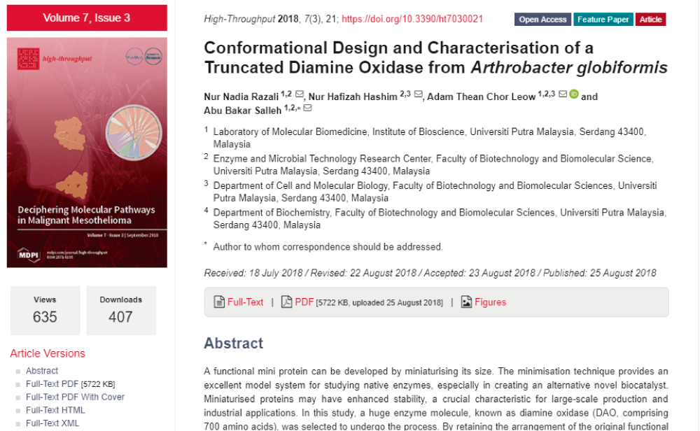 Conformational Design and Characterisation of a Truncated Diamine Oxidase from Arthrobacter globiformis