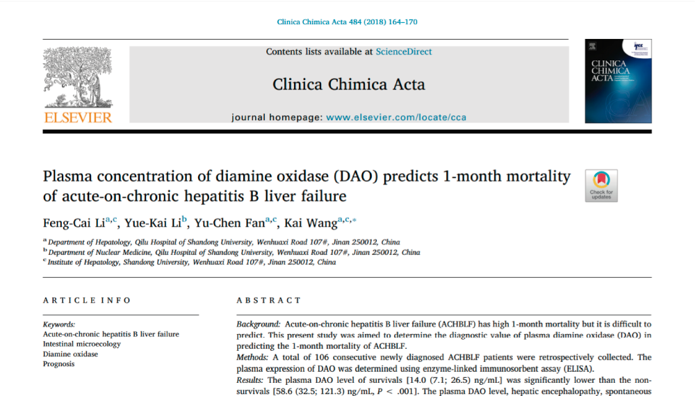 Plasma concentration of diamine oxidase (DAO) predicts 1-month mortality of acute-on-chronic hepatitis B liver failure