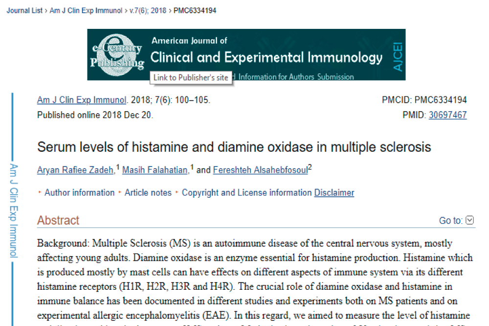 Serum levels of histamine and diamine oxidase in multiple sclerosis, dao deficiency histamine intolerance