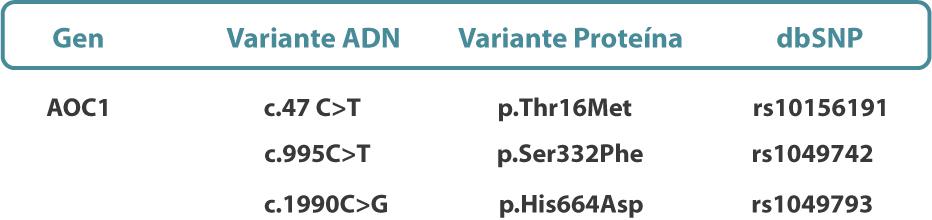 origen geético del déficit de DAO, diamino oxidasa, intolerancia a la histamina, histaminosis
