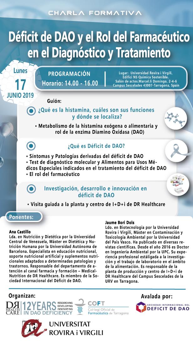 Charla formativa 17 junio 2019 déficit de DAO y el rol del farmacéutico en el diagnóstico y tratamiento